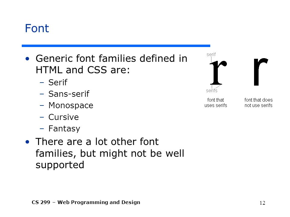 Font Generic font families defined in HTML and CSS are: