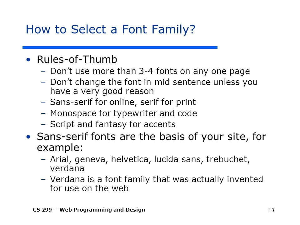 How to Select a Font Family