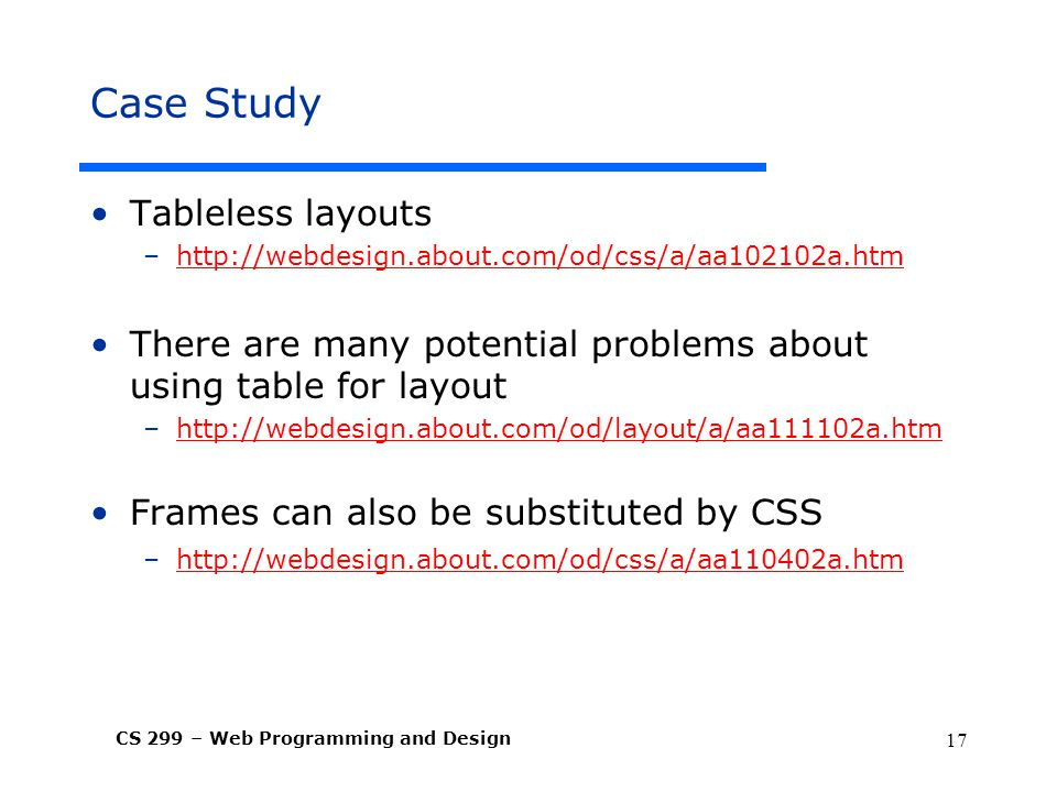 Case Study Tableless layouts