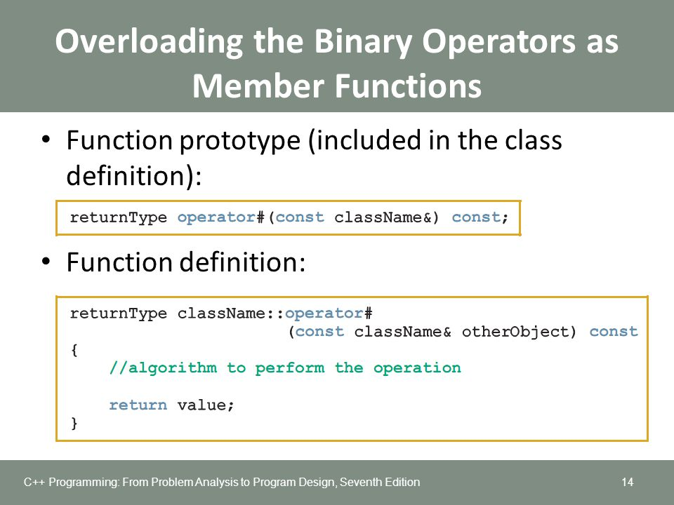 Overloading the Binary Operators as Member Functions