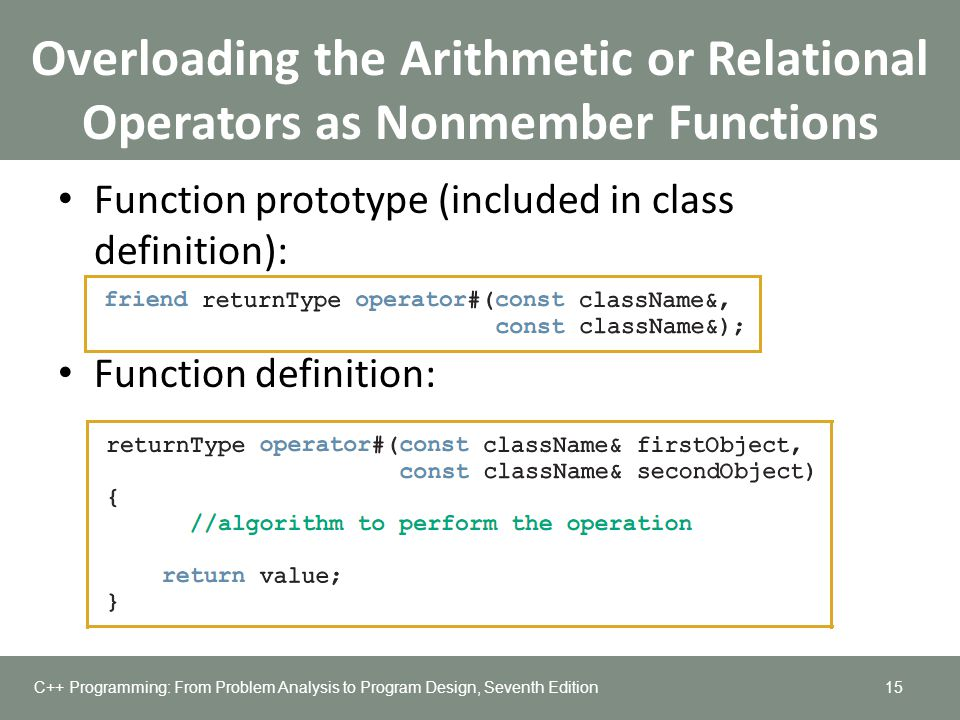 Overloading the Arithmetic or Relational Operators as Nonmember Functions