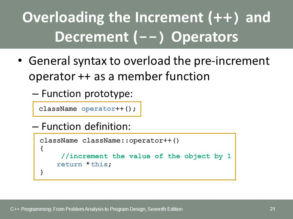 Overloading the Increment (++) and Decrement (--) Operators