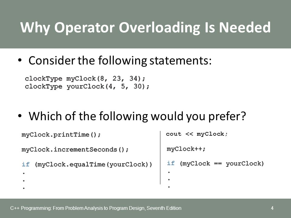 Why Operator Overloading Is Needed