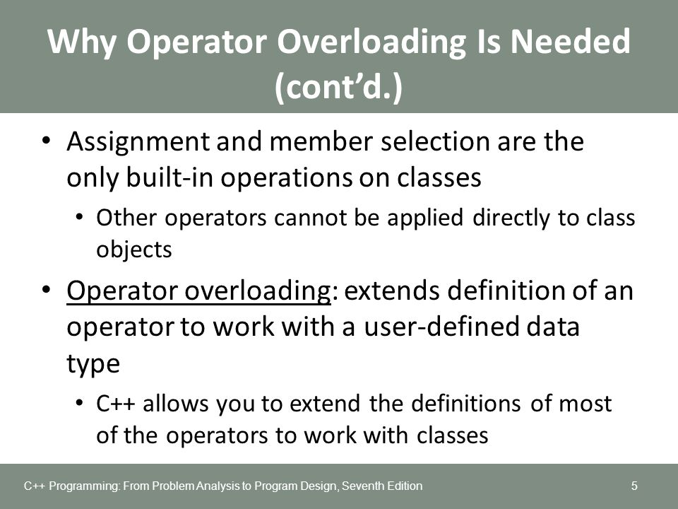 Why Operator Overloading Is Needed (cont'd.)