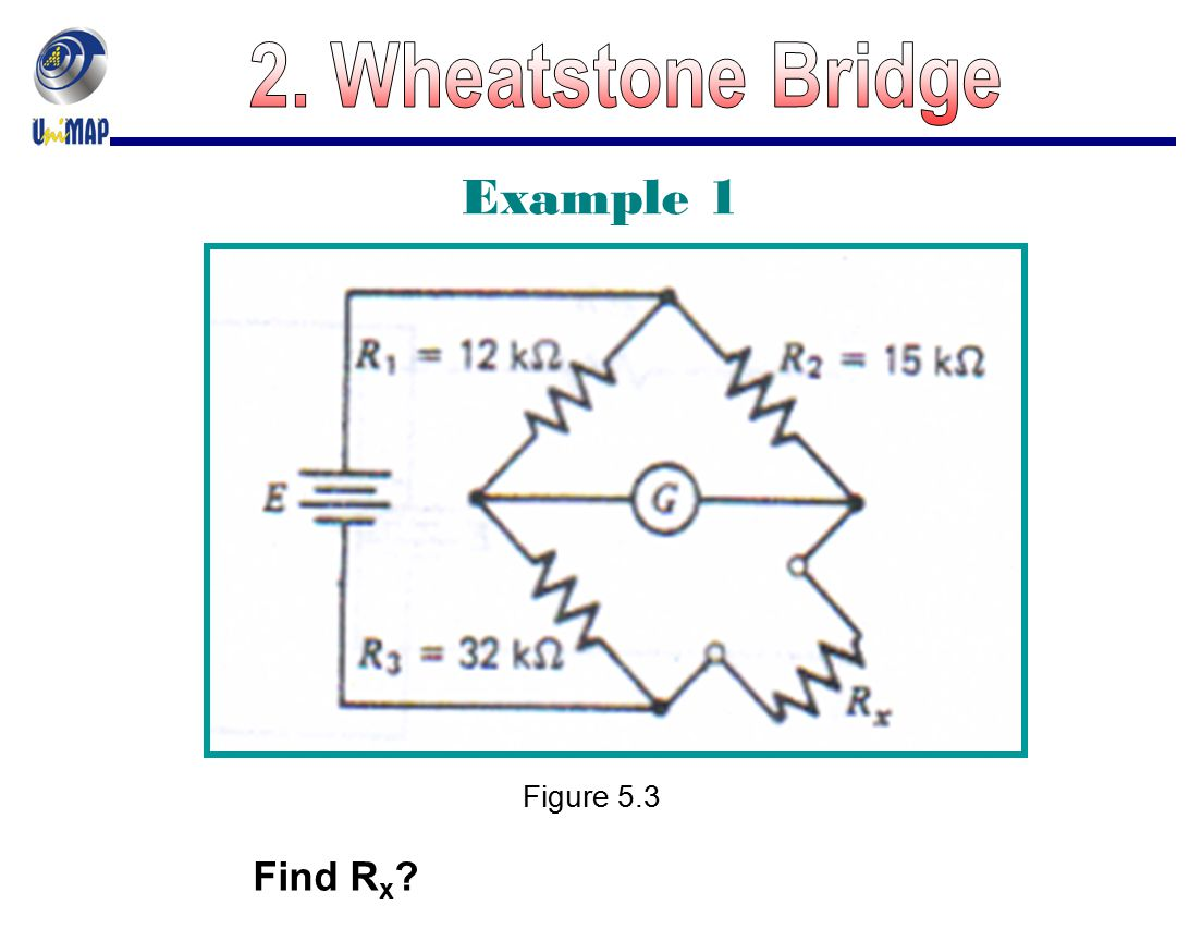2. Wheatstone Bridge Example 1 Figure 5.3 Find Rx