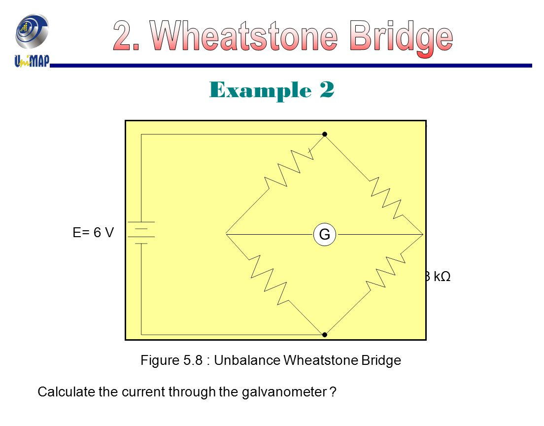 2. Wheatstone Bridge Example 2 R2 = 1.5 kΩ R1 = 1.5 kΩ Rg = 150 Ω