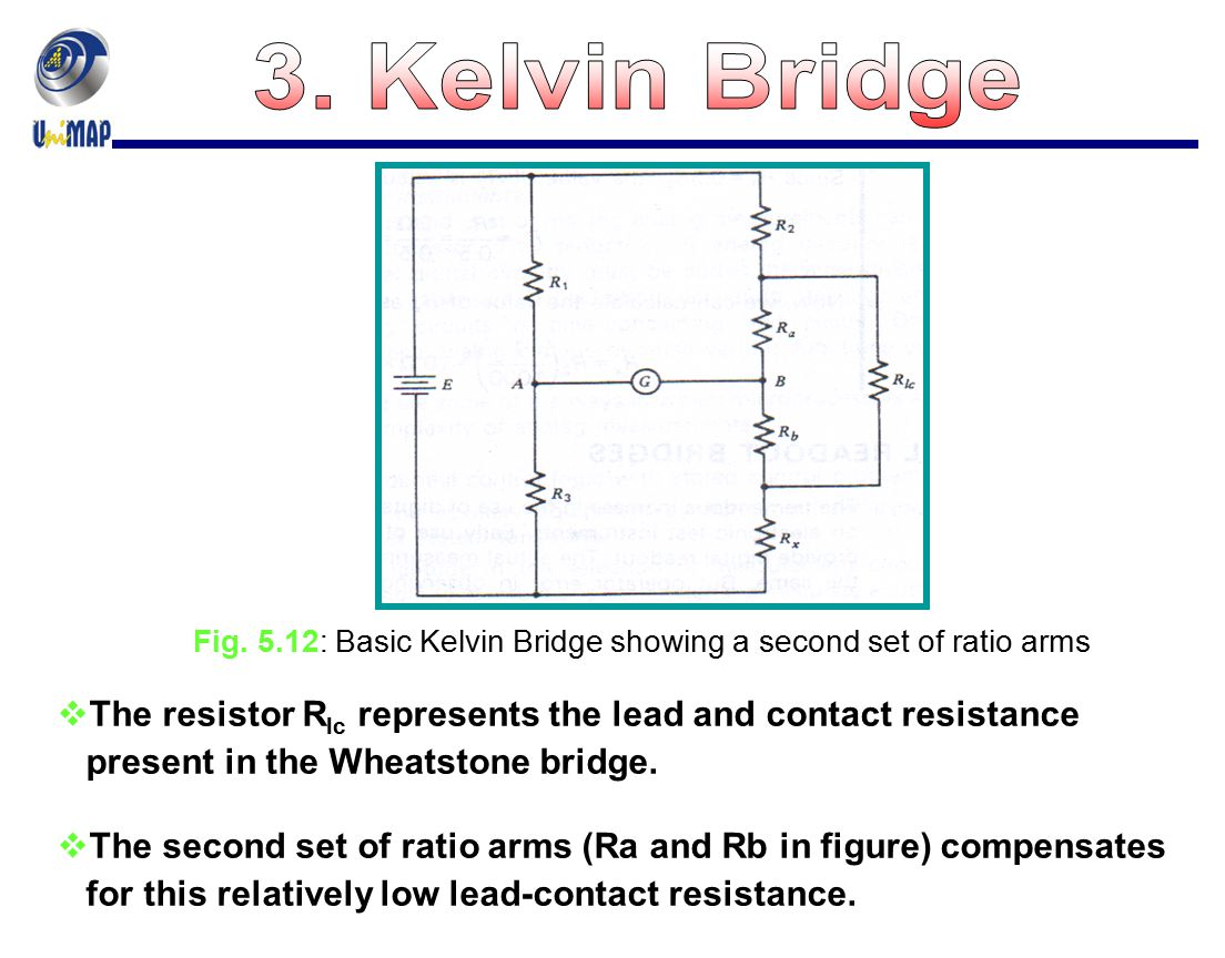3. Kelvin Bridge Fig. 5.12: Basic Kelvin Bridge showing a second set of ratio arms. The resistor Rlc represents the lead and contact resistance.