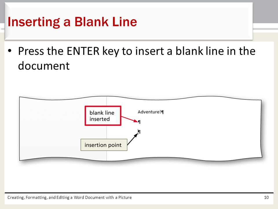 Inserting a Blank Line Press the ENTER key to insert a blank line in the document.