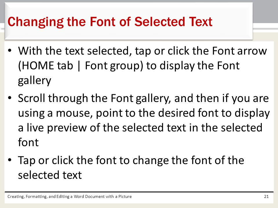 Changing the Font of Selected Text