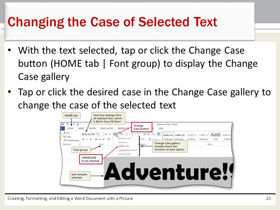 Changing the Case of Selected Text