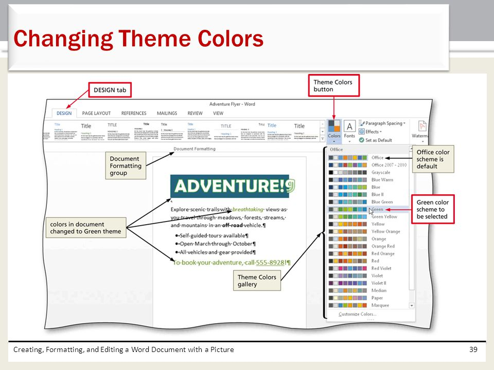 Changing Theme Colors Creating, Formatting, and Editing a Word Document with a Picture