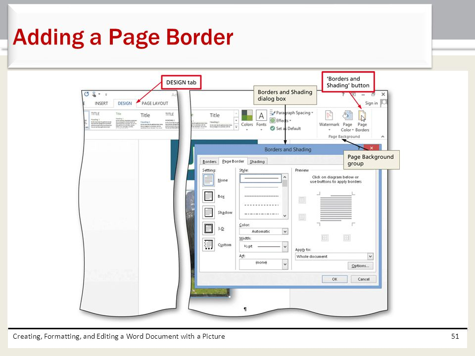 Adding a Page Border Creating, Formatting, and Editing a Word Document with a Picture