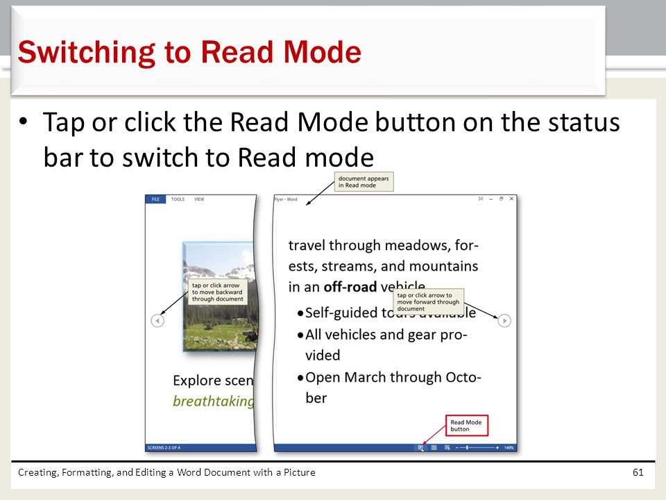 Switching to Read Mode Tap or click the Read Mode button on the status bar to switch to Read mode.