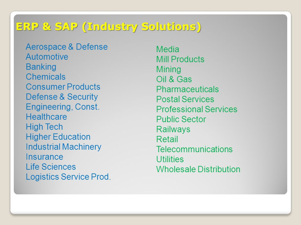 ERP & SAP (Industry Solutions)
