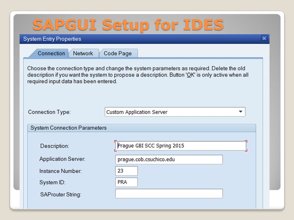 SAPGUI Setup for IDES