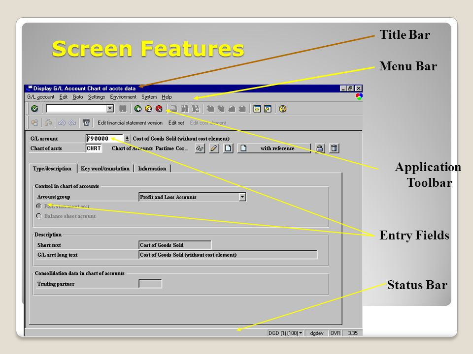 Screen Features Title Bar Menu Bar Application Toolbar Entry Fields