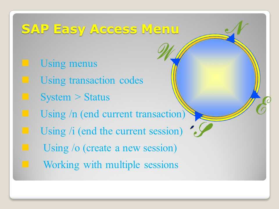 SAP Easy Access Menu Using menus Using transaction codes