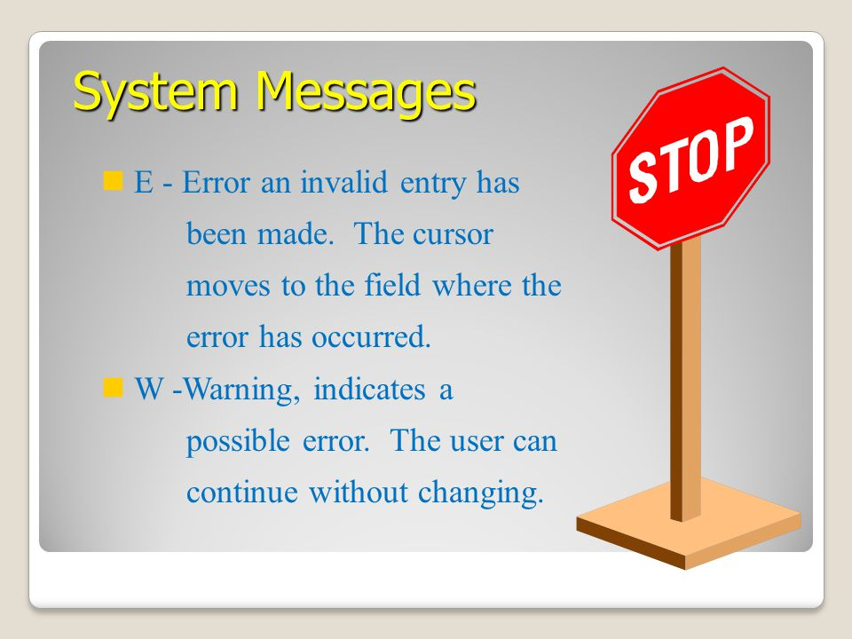 System Messages E - Error an invalid entry has been made. The cursor moves to the field where the error has occurred.