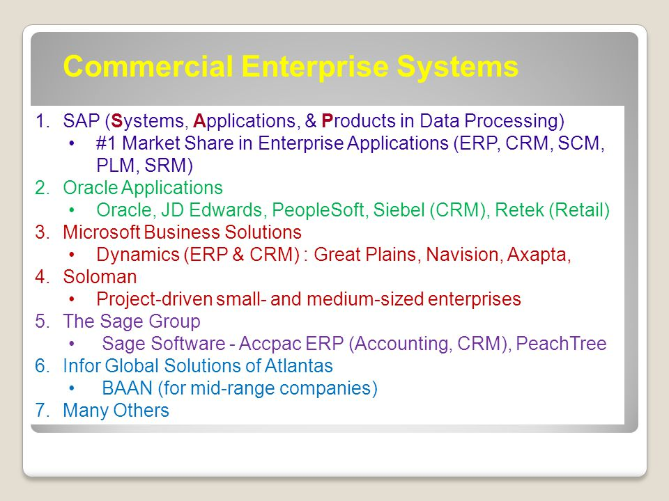 Commercial Enterprise Systems