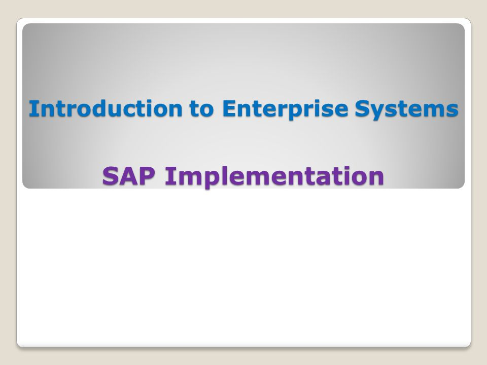 Introduction to Enterprise Systems SAP Implementation