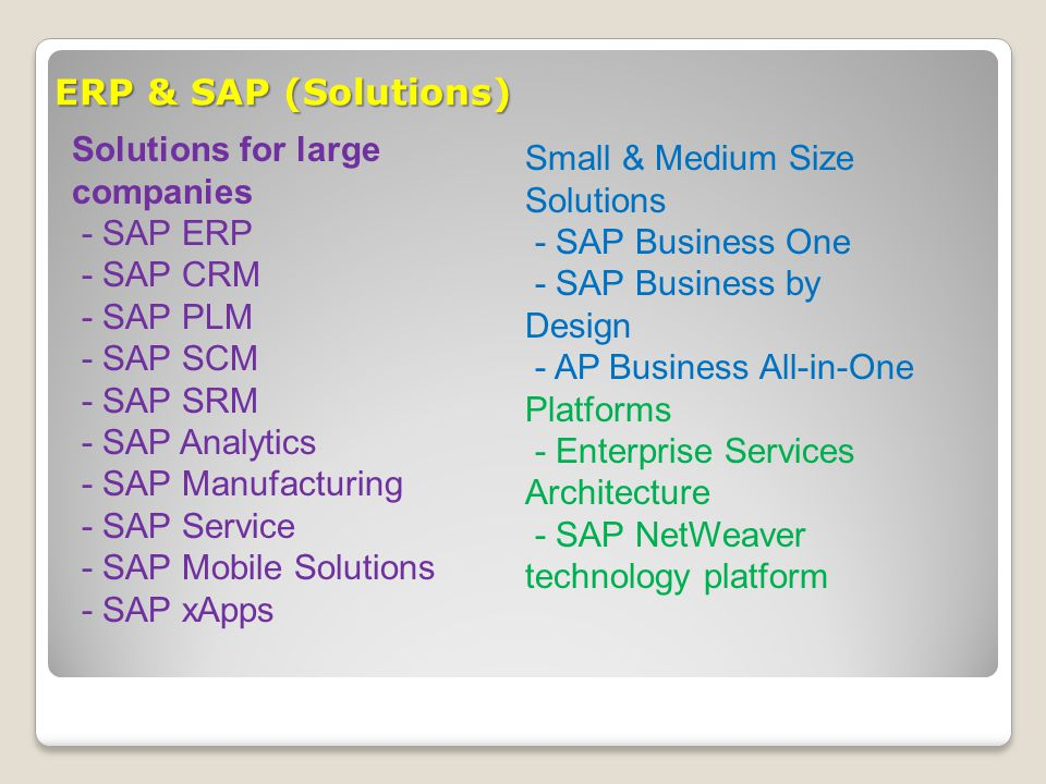 ERP & SAP (Solutions) Solutions for large companies