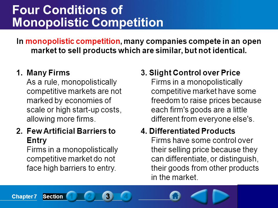 Four Conditions of Monopolistic Competition