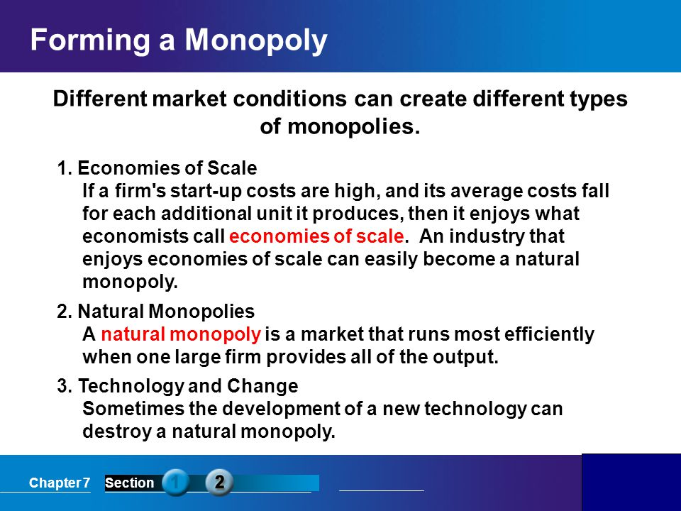 Different market conditions can create different types of monopolies.