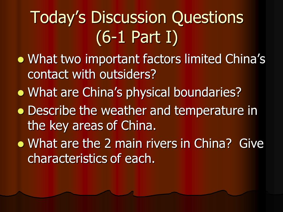 Today's Discussion Questions (6-1 Part I)