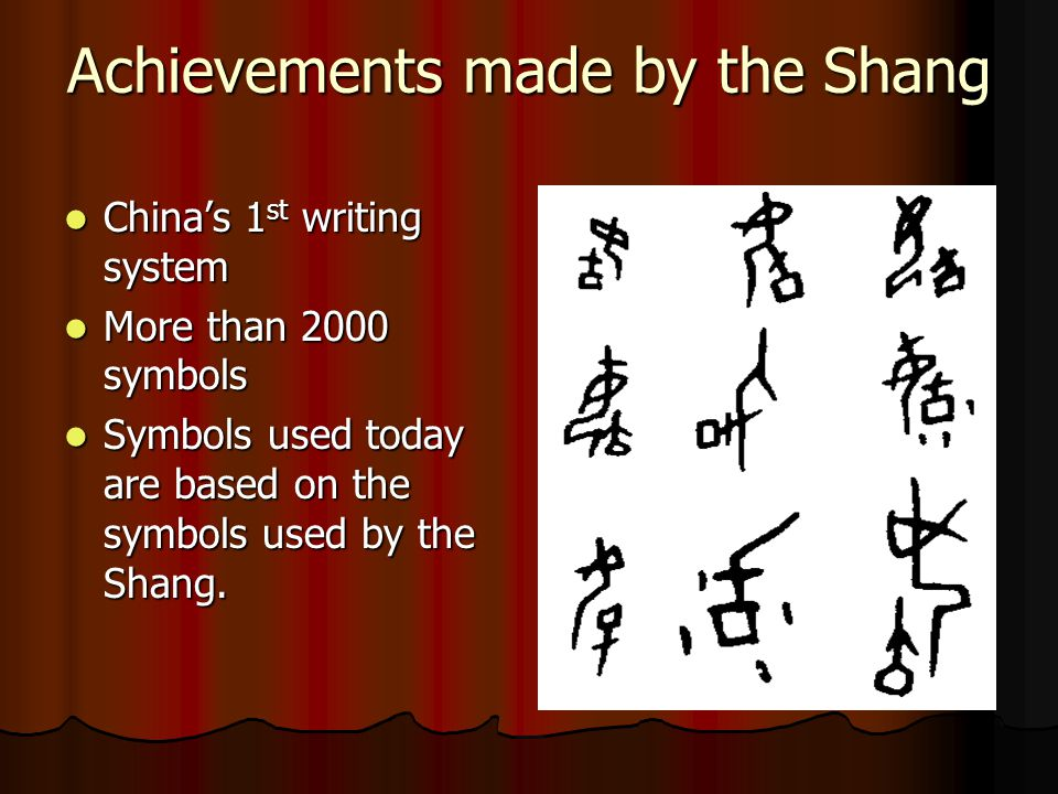 Achievements made by the Shang