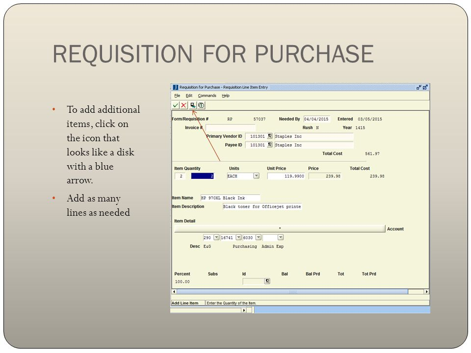 REQUISITION FOR PURCHASE