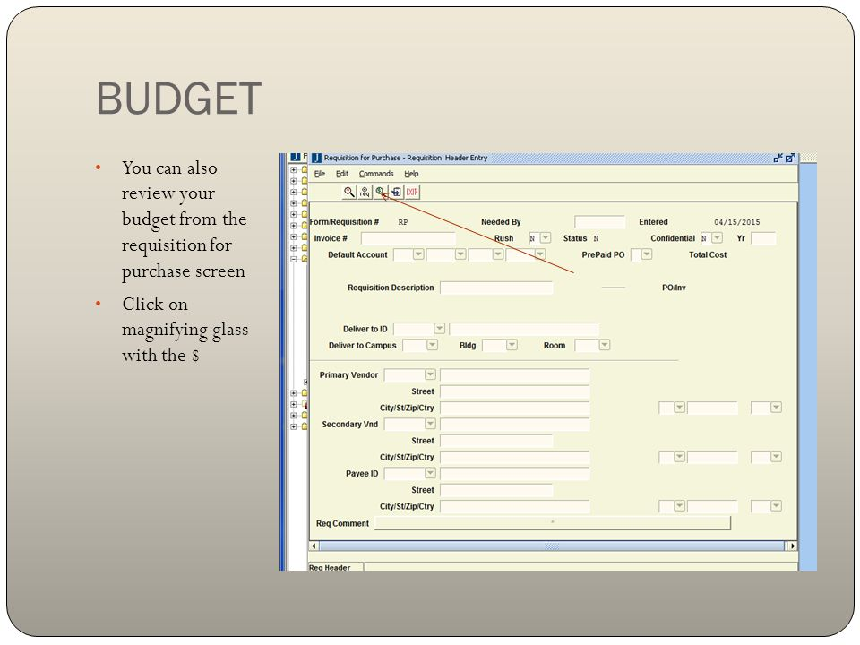 BUDGET You can also review your budget from the requisition for purchase screen.