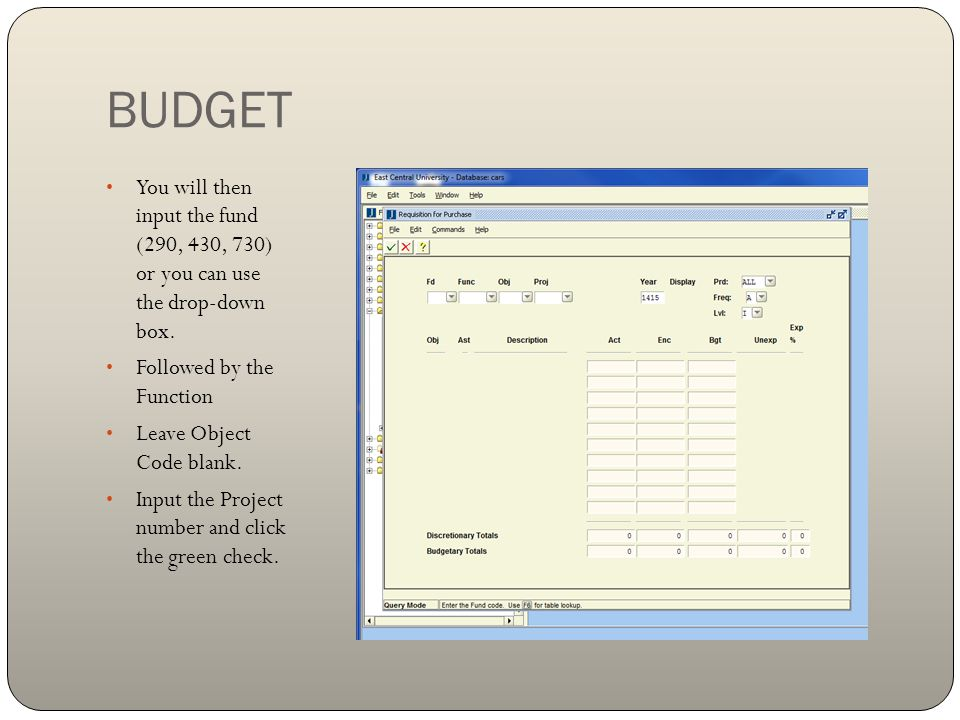 BUDGET You will then input the fund (290, 430, 730) or you can use the drop-down box. Followed by the Function.