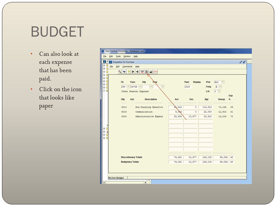 BUDGET Can also look at each expense that has been paid.