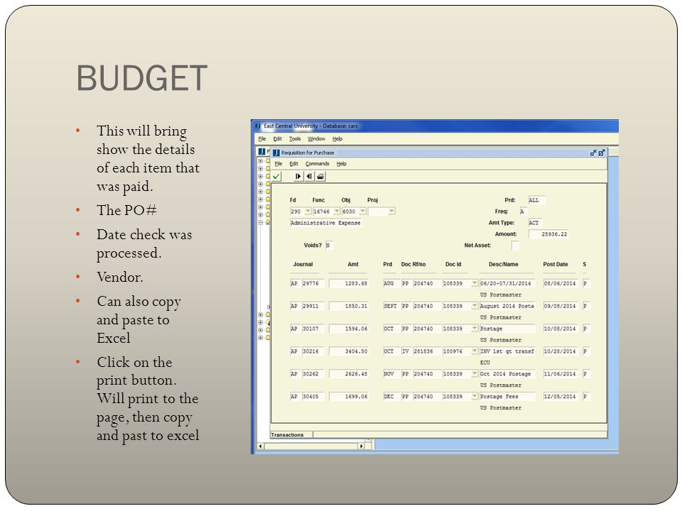 BUDGET This will bring show the details of each item that was paid.