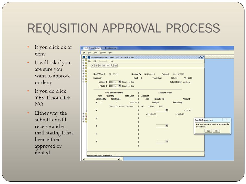 REQUSITION APPROVAL PROCESS