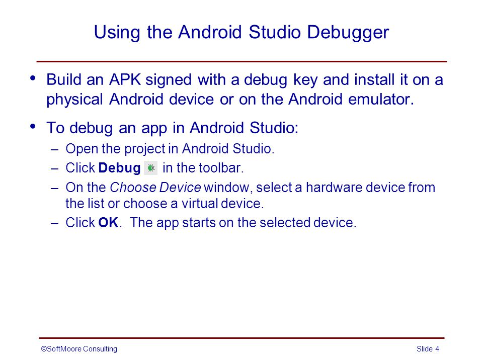 Debugging Android Applications - ppt video online download