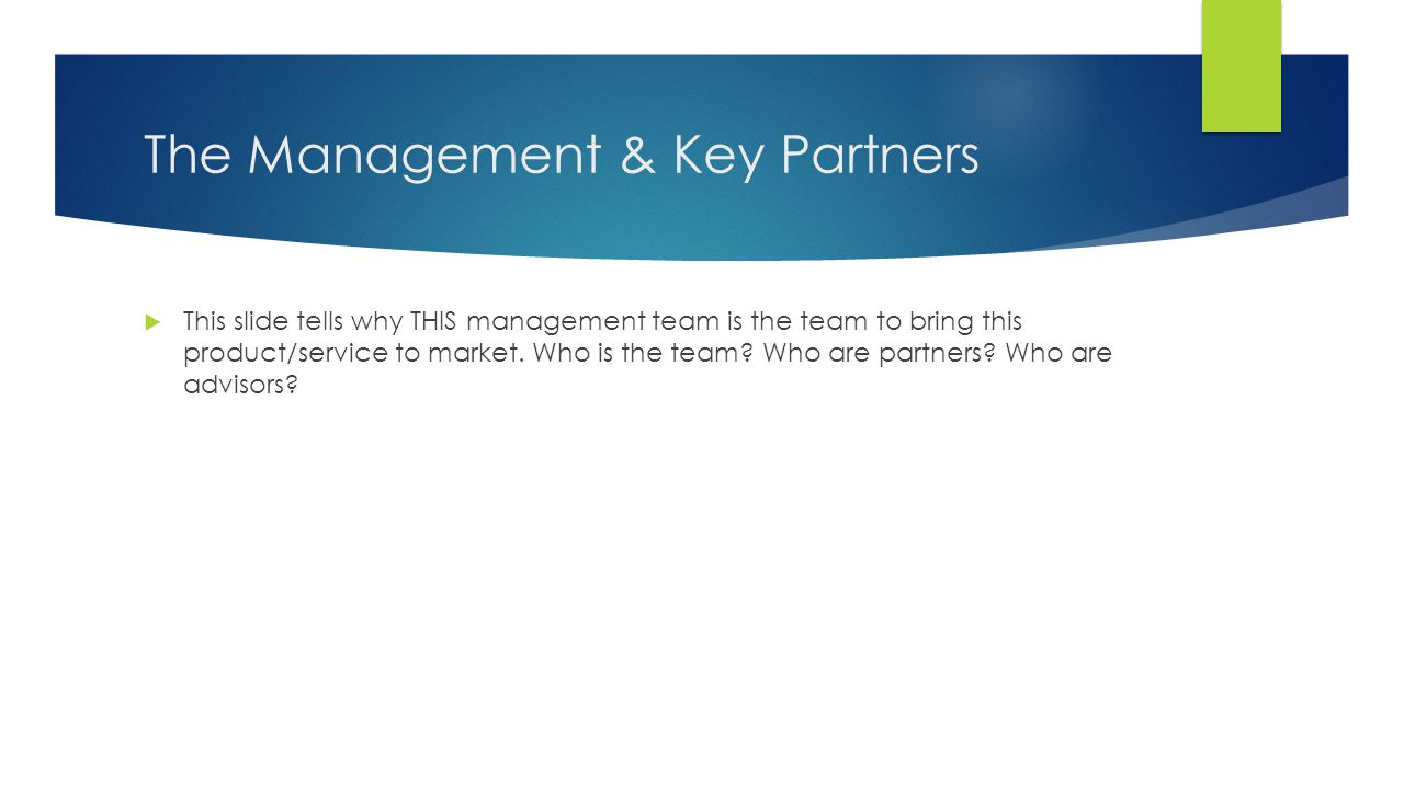 The Management & Key Partners