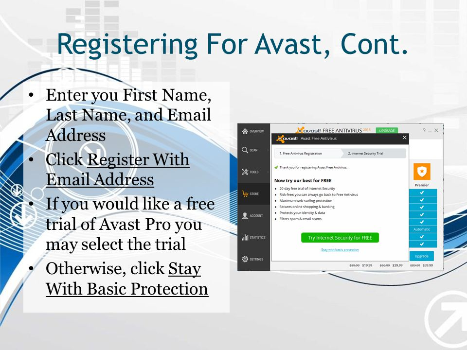 Registering For Avast, Cont.