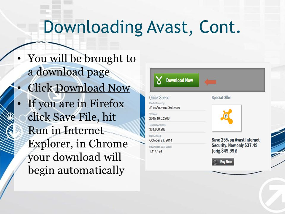 Downloading Avast, Cont.