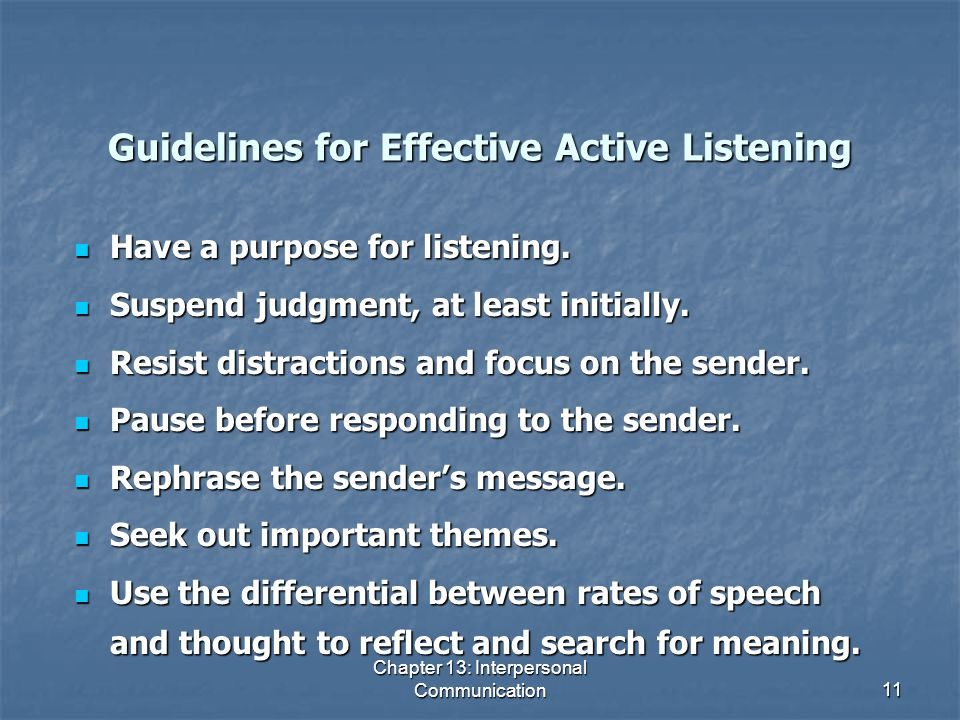 Guidelines for Effective Active Listening