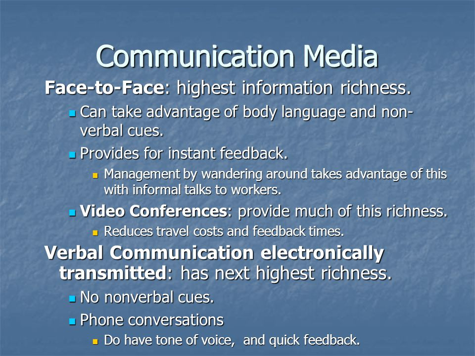 Communication Media Face-to-Face: highest information richness.