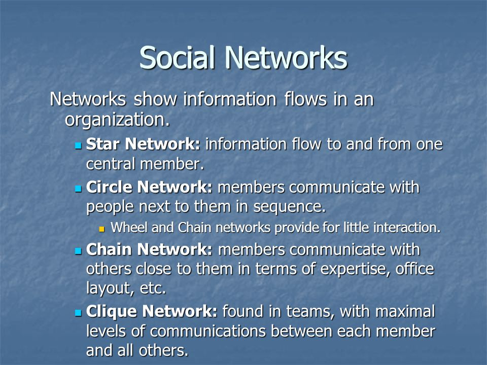 Social Networks Networks show information flows in an organization.