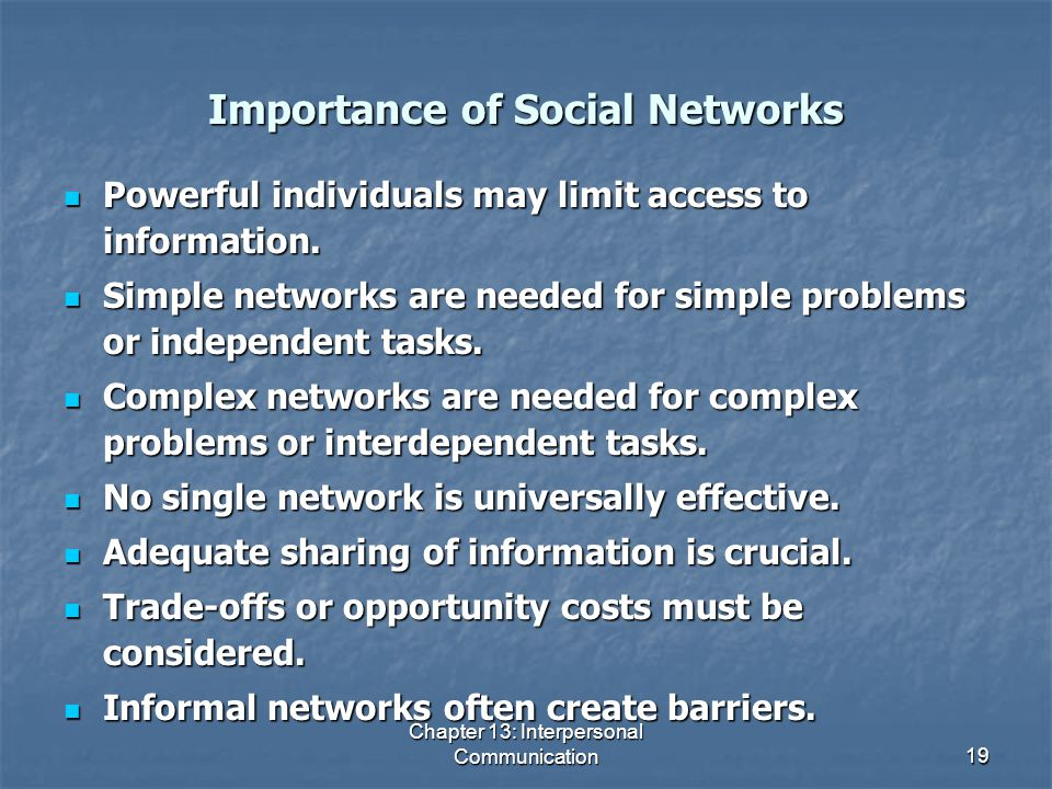 Importance of Social Networks
