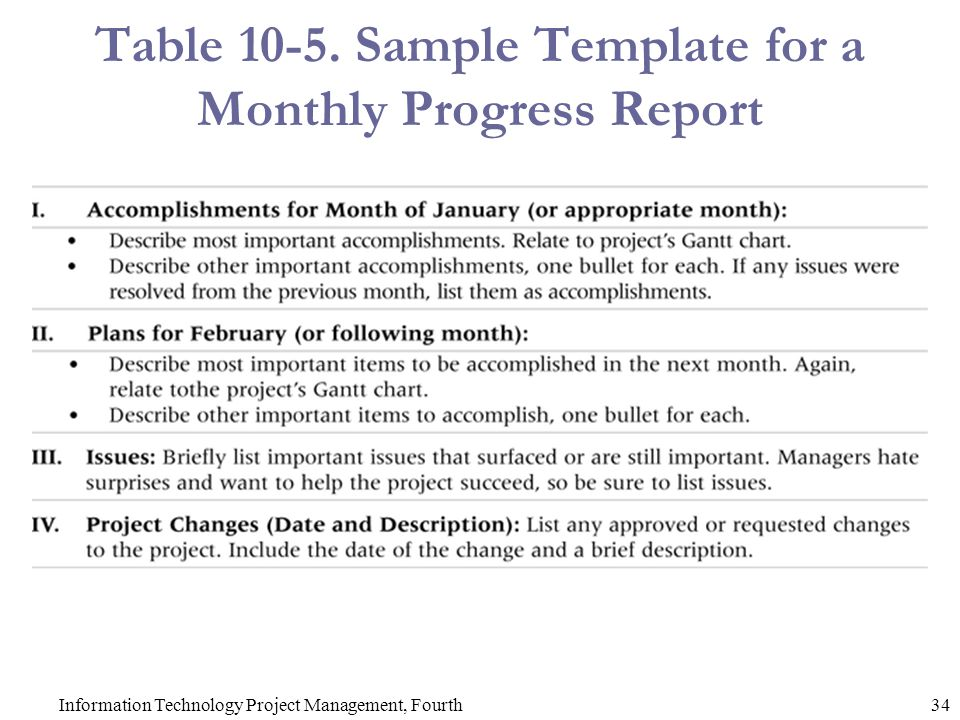 table sample template for a monthly progress report