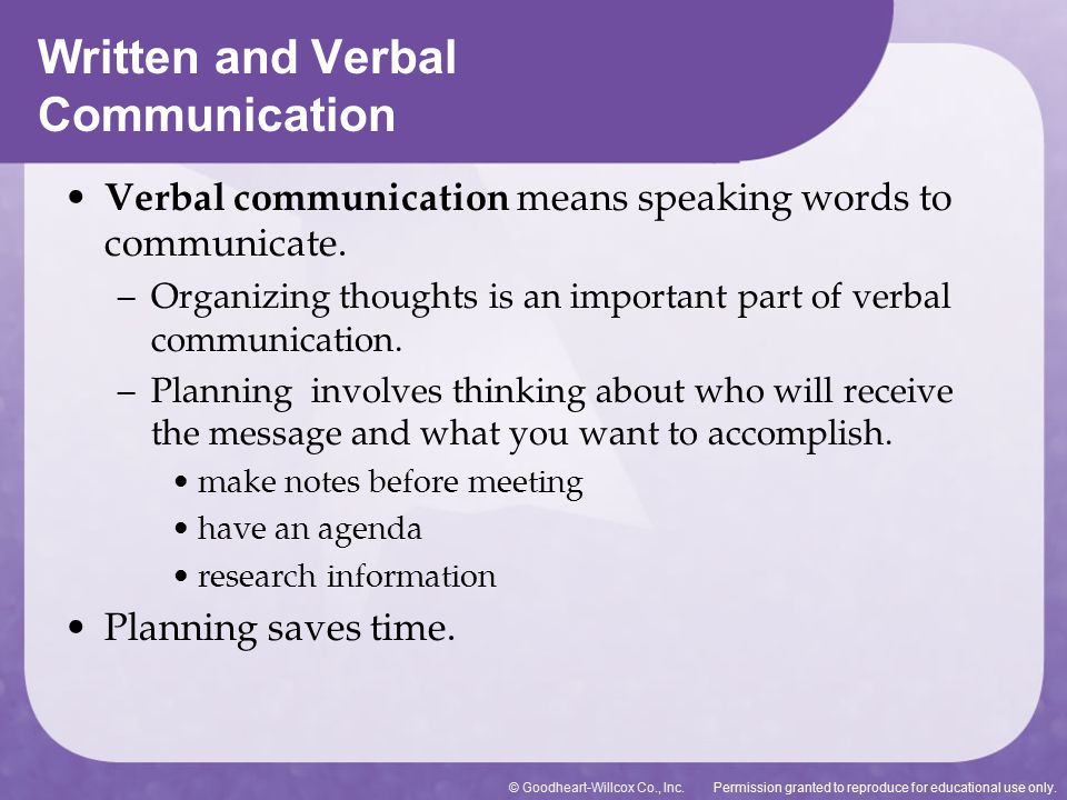 Written and Verbal Communication