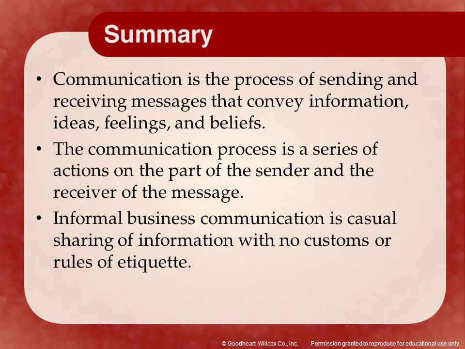 Communication is the process of sending and receiving messages that convey information, ideas, feelings, and beliefs.