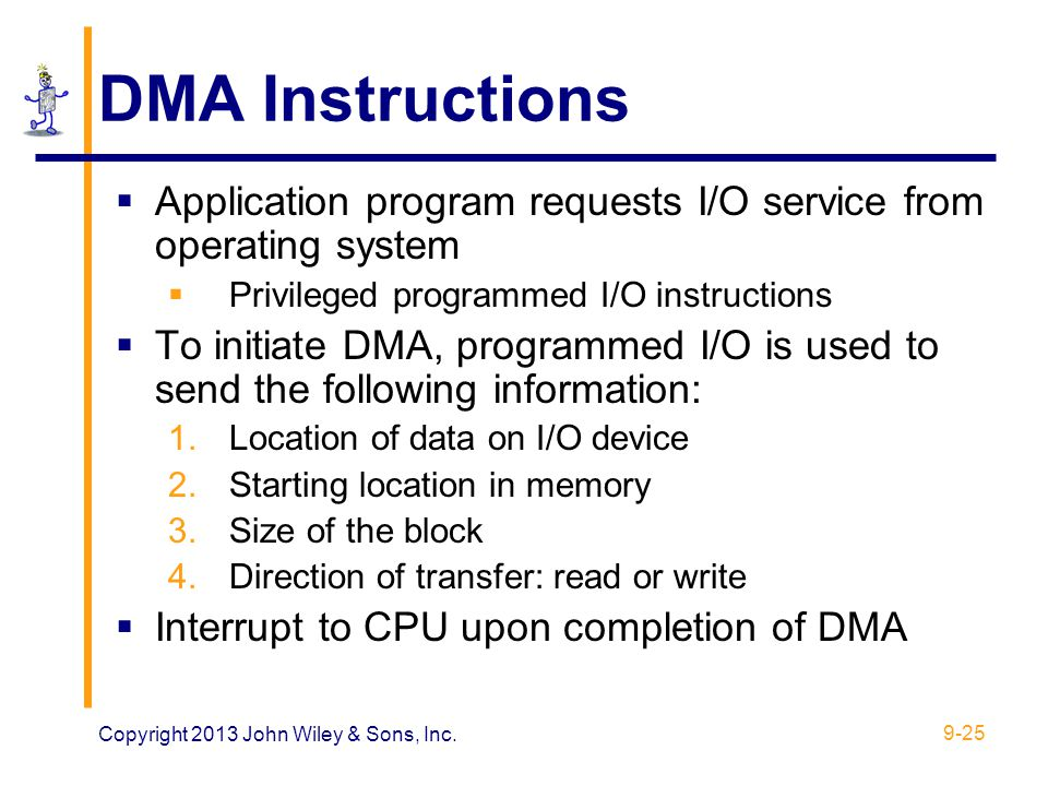 DMA Instructions Application program requests I/O service from operating system. Privileged programmed I/O instructions.