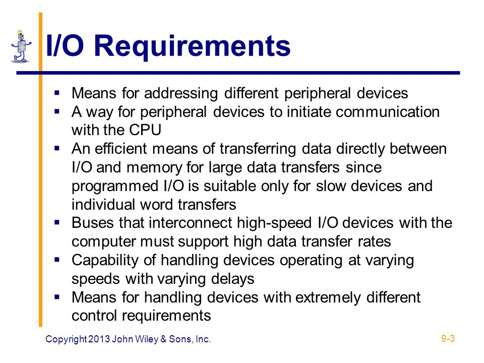 I/O Requirements Means for addressing different peripheral devices