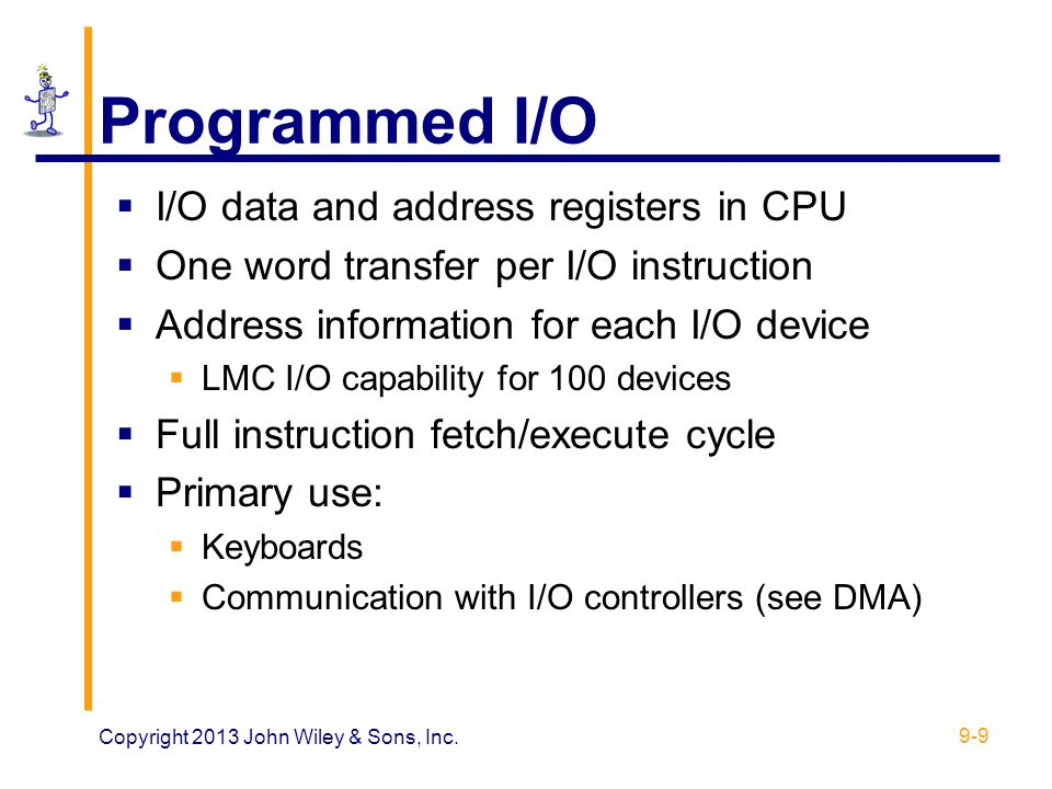 Programmed I/O I/O data and address registers in CPU