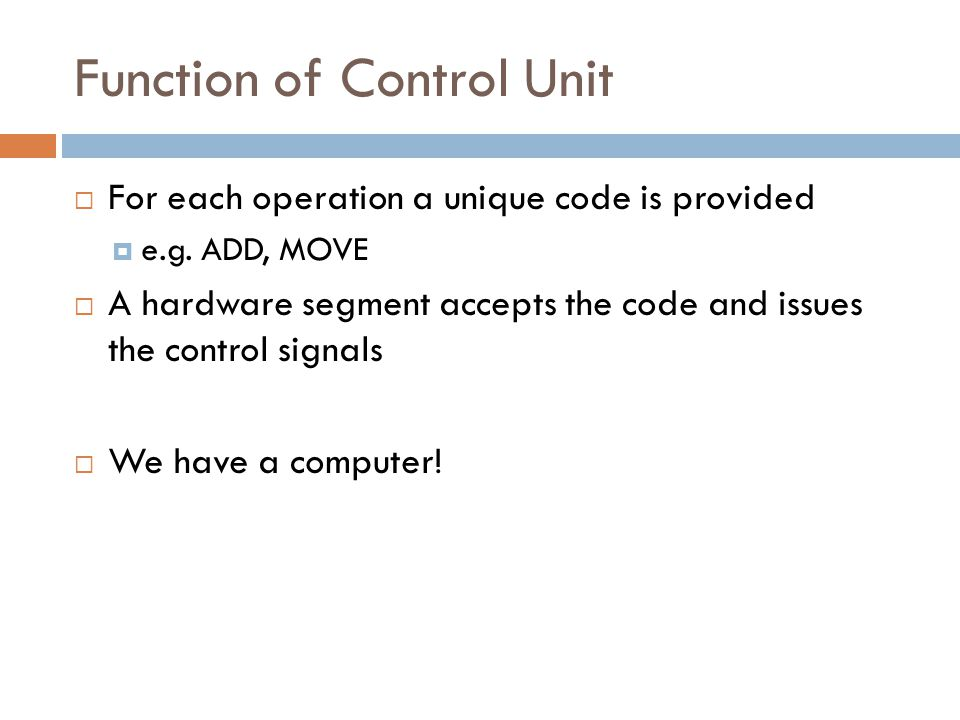 Function of Control Unit